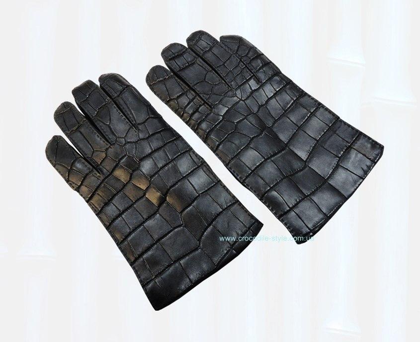 перчатки из кожи крокодила